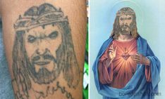 30 Most Hilarious Portrait Tattoo Face Swaps of All Time Funny Tattoos Fails, Tattoo Fails, Weird Tattoos, Tatoos, Face Swaps, Jesus Pictures, Funny Pictures, Arm Band Tattoo For Women, Jesus Tattoo