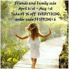 Don't Be left behind & follow me!!! #FriendsAndFamily 25%OFF My Entire Boutique!!!! www.chloeandisabel.com/boutique/kathysgarden #MothersDay #Style #Inspire #ChloeAndIsabel #MakeItMatter #SupportSmallBusiness
