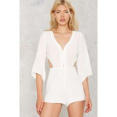 Amerie Cutout Romper ($37) ❤ liked on Polyvore featuring jumpsuits, rompers, white, cutout romper, cut out romper, white cut out romper, playsuit romper and plunging neckline romper