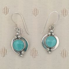 Sterling Silver Turquoise Stone Dangle Earrings Sterling Silver Turquoise stone Dangle earrings. Native American Indian jewelry. No trade, no holding, no off sight payment Jewelry Earrings