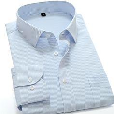 60% Cotton Blue tMen's Clothing Fashion Striped New Summer Spring Brand Shirt Slim Fit Casual Dress Shirt Long Sleeved Plus Size