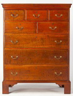 Lot # : 731 - North Carolina Inlaid Semi-Tall Chest of Drawers