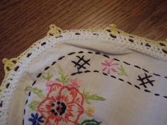 vintage embroidered dresser linens