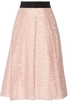 Milly Floral-lace midi skirt