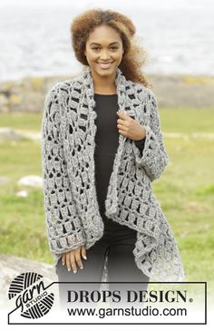 "Stony Ridge - Crochet DROPS jacket worked in a square in ""Cloud"". Size S-XXXL. - Free pattern by DROPS Design"
