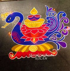 #blue#red#purple#kolam#swan#peacock#rangoli#lamp#deepam Rangoli Designs Latest, Rangoli Designs Diwali, Rangoli Designs Images, Diwali Rangoli, Beautiful Rangoli Designs, Mehandi Designs, Indian Rangoli, Rangoli Borders, Rangoli Border Designs