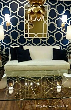 Sophisticated and glamour infused retro-modern living room decor by Worlds Away. Spotted at High Point Market fall 2013. #HPMKT