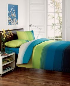Studio Lime Green Teal Blue Striped Duvet Quilt Cover - Bedding UK