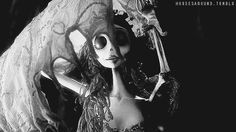 gif tim burton Black and White movie weird b&w johnny depp dead helena bonham carter corpse bride Emily The Corpse Bride horsesaround