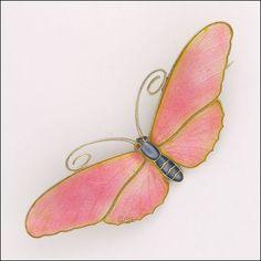 Antique Sterling Silver Enamel Butterfly Brooch - MARIUS HAMMER - Norway