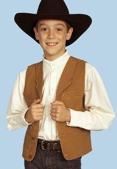 Scully Kids Walnut brown canvas lapel vest, Child vest, child cowboy vest, child western vest, kids suede vest, kids western vest