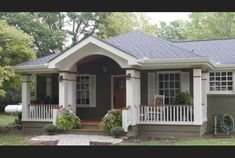 Front porch added to brick ranch