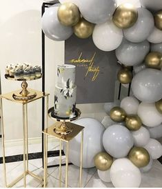 Grey and gold bridal shower - Baby Shower Party Decorations Balloon Decorations, Birthday Party Decorations, Party Themes, Wedding Decorations, Birthday Parties, Ideas Party, Cake Birthday, Gold Birthday Party, Balloon Ideas