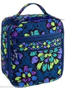 Vera Bradley Indigo Pop Lunch Break Bag Tote Blue Green Navy New edacfd544b002