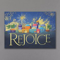 Bethlehem Rejoices - Holiday Card - This colorful depiction of the town of Bethlehem accented with rich gold foil embossing is the focus of this wonderful Christmas greeting.  Made from recycled paper by manufacturers using renewable energy sources.
