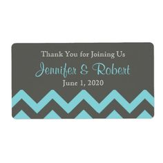 Charcoal and Aqua Chevron Posh Water Bottle Label