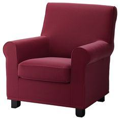 IKEA - GRÖNLID, Cover for armchair, Ljungen dark red, LJUNGEN is a durable cover made of a polyester fabric with a soft, velvety surface and a slightly reflective luster. Sofa is sold separately. Sleeper Sofa, Recliner, Ikea Armchair, Armchair Covers, Kallax Shelf Unit, Ikea Stockholm, Ikea Ps, Ikea Family, Ikea Home