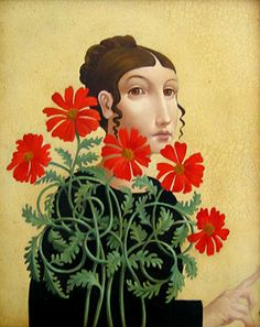 'Woman with Red Flowers' by American artist James Christensen (b.1942). via the artist's site