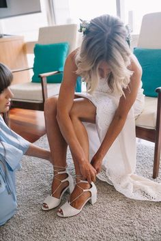 Greatest Kiss Heels with Silver lace up chain, worn on bride Jackie. Ship this style now. For the unique bride. Comfortable wedding shoes!
