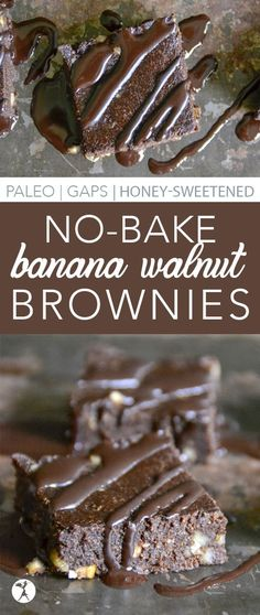 These paleo, GAPS diet-friendly No-Bake Banana Walnut Brownies are perfect for when you're craving a treat, but it's still too hot to turn on the oven! Paleo Dessert, Gluten Free Desserts, No Bake Desserts, Healthy Desserts, Dessert Recipes, Diet Desserts, Holiday Desserts, Healthy Food, Gaps Diet Recipes