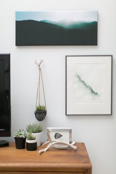 Jaclyn's Down-to-Earth Live/Work Apartment - love that little graphic hanging potted plant. Have clay; will make one.