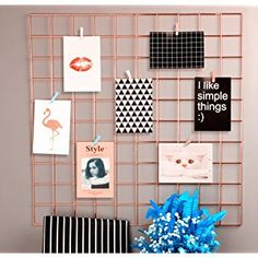 """Rumcent Multifunction Metal Mesh Grid Panel,Wall Decor/Photo Wall/Wall Art Display & Organizer,Pack of 2 Pcs,Size: 23.6"""" x 23.6"""",Rose Gold Color"""