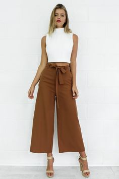 FSDA Women Bow Bandage Wide Leg Pants Summer Casual Ladies Elegant Ankle-Length Pants - brown,s Summer Pants Outfits, Casual Outfits, Fashion Outfits, Wide Leg Pants Outfit Summer, Fashion Styles, 50 Fashion, Korean Fashion, Fashion Online, Mode Pop
