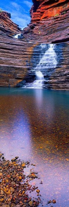 """Joffrey Gorge, Karijini National Park, Australia by Christian Fletcher. """"In Joffre Gorge, one can truly appreciate the power of water shaping the landscape. The gorge hosts impressive waterfalls, deep pools and breath-taking views. Places To Travel, Places To See, Travel Destinations, Places Around The World, Around The Worlds, Australia Travel, Western Australia, Australia Destinations, Melbourne Australia"""