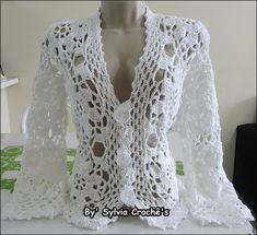 casaco de croche rendado feito com fio alfazema da circulo manequim 38/40 outras cores e tamanhos sob consulta! R$ 219,99