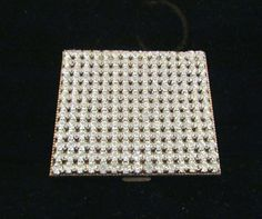 1950s Rhinestone Compact Schildkraut Compact Vintage Gold Powder And Mirror Compact Mad Men EXCELLENT CONDITION