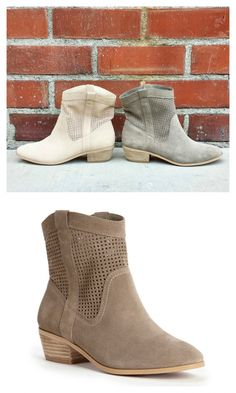 Perforated suede neutral booties with a mini stacked heel and an easy slip-on shape.