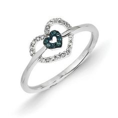 14k White Gold w/ Blue and White Diamond Double Heart Ring - QGY10753AA - KevinJewelers.com