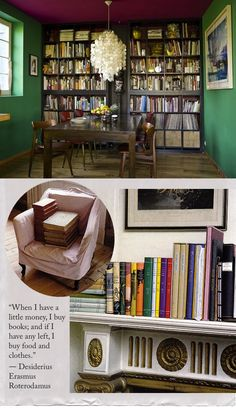 Dark shelves: cozy, used-bookstore-y.
