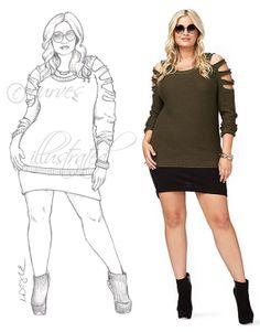 Custom Fashion Illustration Plus Size Fashion by CurvesIllustrated, $25.00