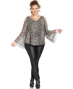 Jessica Simpson Plus Size Leopard-Print Cutout Blouse Junior Plus Size Clothing, Trendy Plus Size Dresses, Plus Size Blouses, Plus Size Tops, Plus Size Outfits, Plus Size Fall Outfit, Fall Outfits For Work, Simpsons, Blouses For Women