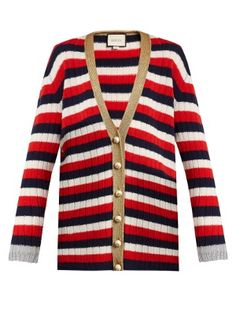 Striped V-neck wool and cashmere-blend cardigan | Gucci | MATCHESFASHION.COM UK