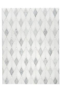Studio Express Highland Mosaic in White/Gray - Contemporary Tiles - Dering Hall Waterworks Kitchen, Tile Patterns, Contemporary Tile, White Kitchen, Contemporary Fireplace, White Kitchen Cabinets, Mosaic, Modern Kitchen Design, Kitchen Design