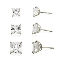 3-pair 10k White Princess Cut Cubic Zirconia Stud Earring Set,(3mm,4mm and 5mm) -- Click image for more details. (This is an affiliate link and I receive a commission for the sales)