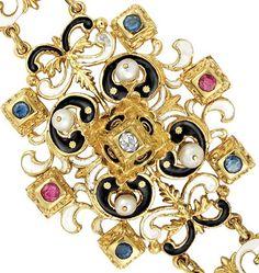 Detail: Victorian enamel, diamond, gem-set and pearl bracelet, circa 1880. Via Diamonds in the Library.