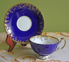 Antique Aynsley Tea Cup and Saucer. Cobalt Blue and Gold