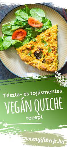 Vegán Quiche recept tészta- és tojásmentesen! #vegánrecept #vegánreceptek #vegánquiche #mentesrecept #veganrecept #veganreceptek #veganesfinom #veganebed #vegánsütés #novenyifeherje Vegan Quiche, Protein