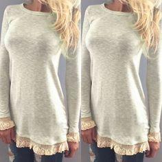Elegant Jewel Neck Long Sleeve Lace Splicing T-Shirt For WomenT-Shirts   RoseGal.com