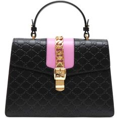 GUCCI ìSylvie signature' tote found on Polyvore featuring bags, handbags, tote bags, gucci, tote purses, leather handbag tote, real leather purses and leather purses