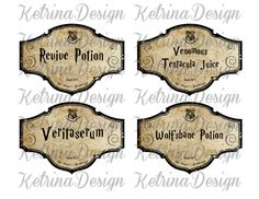 Halloween Harry Potter Potion Labels Jar Bottle by KetrinaDesign