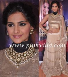 ... beautiful beige Anamika Khanna lehenga choli and Sunita Kapoor jewels
