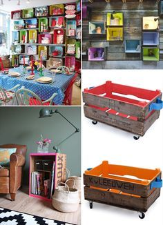 Ideias Inusitadas Us... Personal Organizer, Small Places, Beautiful Bedrooms, House Colors, Crates, Magazine Rack, Decoupage, Diy, Organization