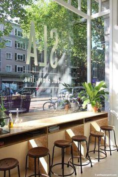 Ideas For Restaurant Seating Ideas Window Bars Restaurant Amsterdam, Deco Restaurant, Restaurant Design, Amsterdam Cafe, Restaurant Seating, Café Bar, Bar Design, Coffee Shop Design, Small Cafe Design