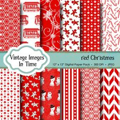 Christmas digital paper Fun Paper Pack with by VintageImagesInTime, $2.00