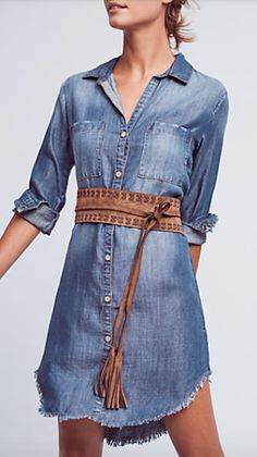 fringed chambray button-down dress
