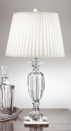 A stunning heavy crystal table lamp which is supplied with an off-white knife pleated silk shade. Fitted with an in-line switch Basement Inspiration, Home Decor Inspiration, Luxury Homes Interior, Home Interior Design, Guest House Plans, Cordless Lamps, Metal Table Lamps, Antique Lamps, Bedroom Lamps
